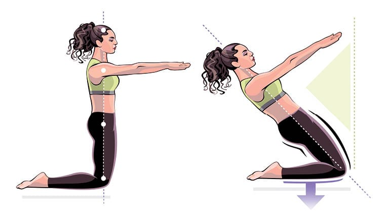 illustration of woman performing the thigh stretch